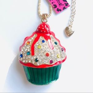 Colorful Crystal and Enamel Cupcake Necklace